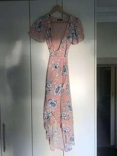 SASS from DISSH salmon and floral printed wrap dress
