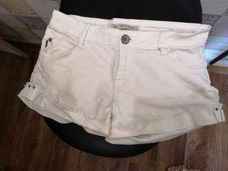 Zara Trf white denim shorts