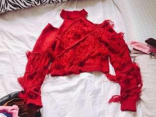 紅色流蘇上衣$100
