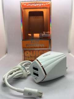 MOXOM QUICK TRAVEL CHARGER KH-37 (free micro cable 1M)