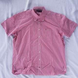 Tommy Hilfiger紅色格紋短袖襯衫