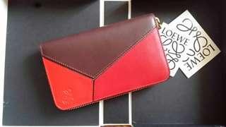 Loewe Puzzle Wallet 紅色拼色