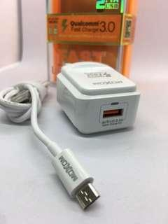 MOXOM QUALCOMM FAST CHARGER 3.0 (with usb cable - MICRO)