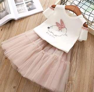 🚚 🌟PM for price🌟 🍀Girl Rabbit Printed Short Sleeves Top+Tulle Skirt 2pcs Set🍀