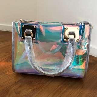 BN hologram rainbow silver hand carry handbag PVC