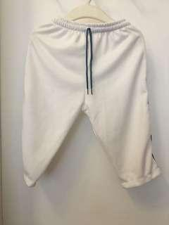 White track pants small for boys