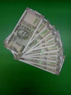 lndia 500 Rupees Same prefix 8GQ Low numbers 000001-000010 Original UNC