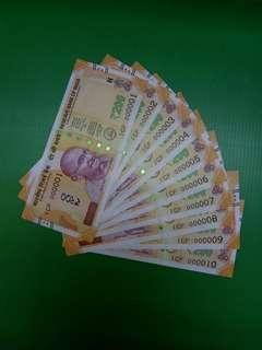 lndia 200 Rupees Same prefix 1CF Low numbers 000001-000010 Original UNC