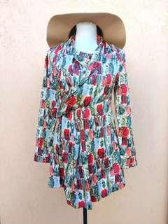 Abstract Rose Wrap Dress(S)