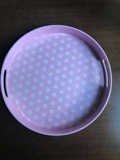 粉紅波點托盤