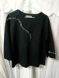L'maison 珠飾 黑色 中袖 鬆身 上衣