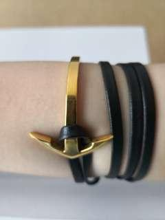 Anchor bracelet (Gold) - Stainless steel with leather wrist wrap