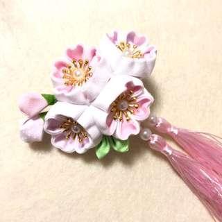 手作 雙層粉紅色白色 櫻花流蘇 和風髮夾🌸
