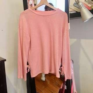 Topshop pink/peach/salmon sweater with bow detailing