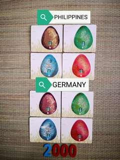 Starbucks GERMANY and PHILIPPINES versions of 2015 Easter Egg Die Cut Cards SET (total of 8 cards)