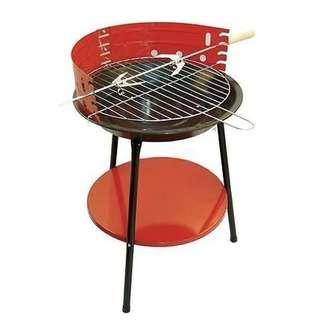 36cm Portable Round Charcoal BBQ Grill (Red)