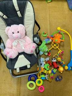 Maclaren baby rocker and toys