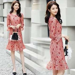 Bell-sleeved Fish-tailed Floral Lace Dress
