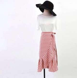 Red Check Skirt