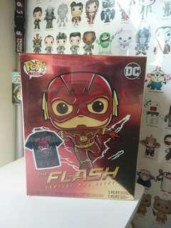 Funko Pop Metallic Running Flash With Tee Box Set Vinyl Figure Collectible Toy Gift Movie Comic Super Hero DC