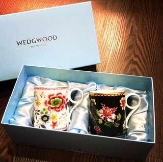 全新Wedgwood骨瓷花卉對杯