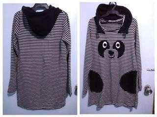 dog design stripe hoodie longsleeve dress