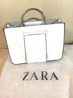 Zara white tote bag with metallic handles shoulder bag