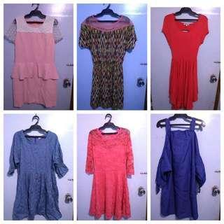 Preloved Fashionable Dress 6pc Set