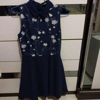 One piece dress, navy,  連身裙,寶藍色