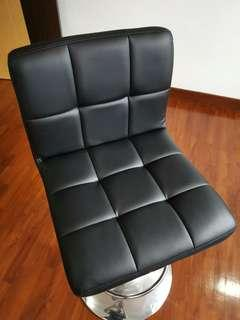 Black quilted leather bar counter chair x 2