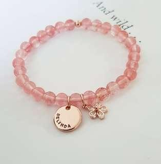 Cherry Quartz Personalised Custom Bracelet | Birthday Gift Bridesmaids Gift Friendship Bracelet