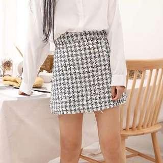 復古黑白格紋A字裙