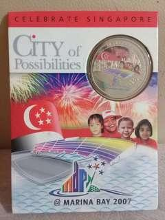 $2 coin - 2007 Singapore 42 Years of Independence colour proof coin