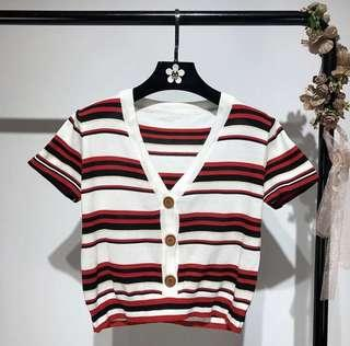 間條上衣 stripes cardigan