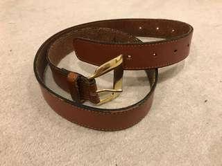 Sportscraft genuine leather brown belt gold buckle