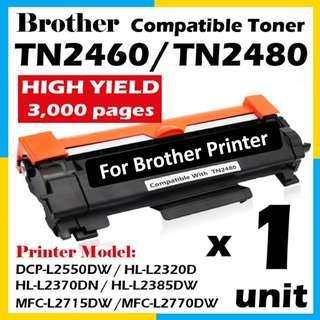 🚚 Compatible TN-2460 / TN-2480 High Yield 3000 pages Black Toner Cartridge for Brother Printer TN2480 TN2460