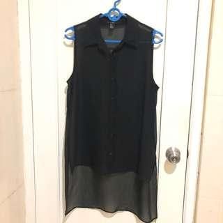 Blouse Forever 21 hitam sleeveless