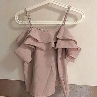🚚 Off shouder Pink  chiffon top