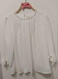 正韓 全新 珍珠 蝴蝶結 雪紡上衣 襯衫 甜美貴氣 氣質款 白色