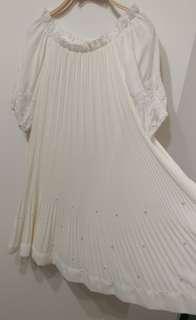 正韓 全新 珍珠  長版雪紡上衣 小洋裝 甜美貴氣 氣質款 白色