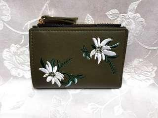 🆕️ Floral Embroidery Purse (Dark Green)