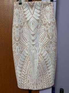 Sheike Cream Pencil Skirt
