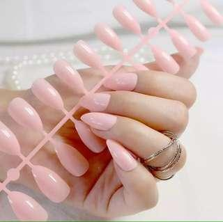 24 pcs Shiny Nude Stiletto Press On Fake Nails