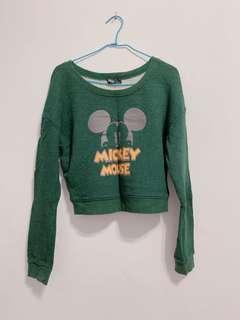 迪士尼米奇短版綠色圓領上衣