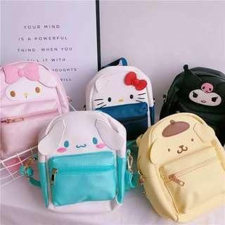 預訂Sanrio hello kitty / melody /Kuromi / 布甸狗/玉桂狗 十字紋小朋友背包