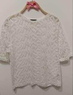 全新 葉子 刺繡 蕾絲  雪紡上衣 襯衫 甜美貴氣 氣質款 白色