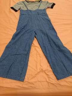 🚚 免運~減齡/吊帶牛仔薄褲套裝