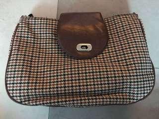 Brown Checkered Messenger Bag