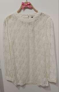 全新 鏤空 雕花蕾絲 宮廷花朵 法式甜美 雪紡上衣 內襯 打底 襯衫 甜美貴氣 氣質款 米白色