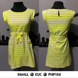 Yellow And White Stripes Dress